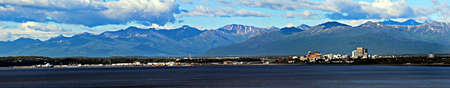panoramic view of Anchorage, Alaska Stock Photo