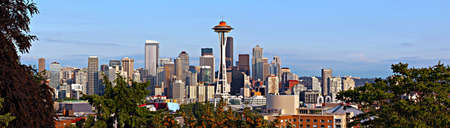 panoramic business: View of Seattle Skyline from Kerry Park on Queen Anne Hill with Mr Ranier in the background.