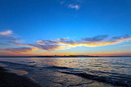 Sunset on Alki Beach, Seattle photo