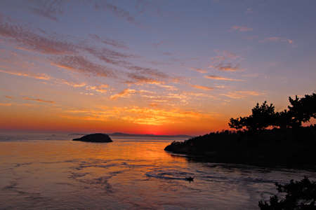 View of beautiful sunset from Deception Pass