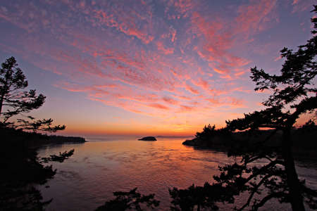 northwest: View of beautiful sunset from Deception Pass