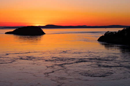puget: Sunset over the San Juan Islands in the Puget Sound