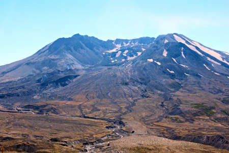 helens: The growing lava dome inside Mt St Helens crater with steam releasing. Stock Photo