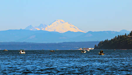 mount baker: Salmon fishing on the puget sound Stock Photo
