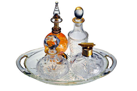 A collection of classic vintage perfume bottles photo
