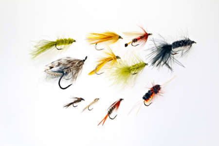 An assortment of fishing flies