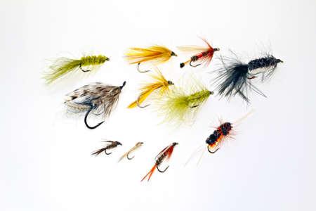 An assortment of fishing flies