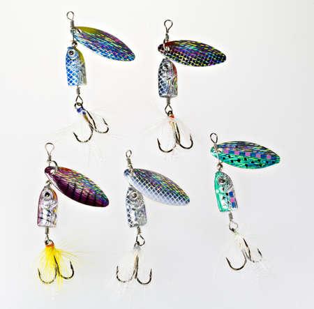 spinner: an assortment of fishing spinner lures