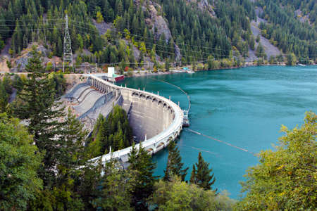 Diablo Dam wall, Washington State Stock Photo - 15548130