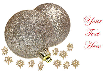 Christmas decoration balls isolated on white with gold snowflakes photo
