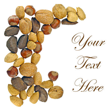 Mixed whole nuts framing a message area Stock Photo - 16042559