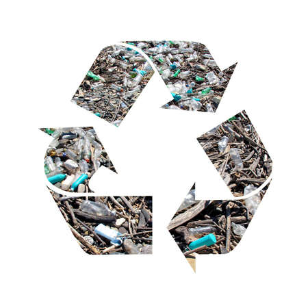 international recycle symbol: recycle symbol isolated on white with old garbage as texture