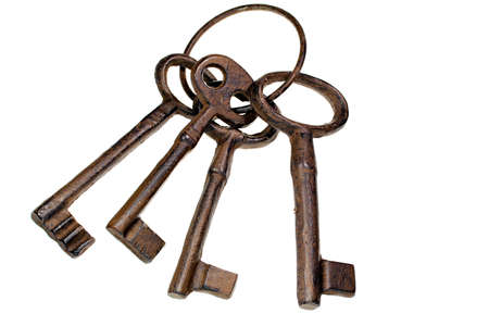 metal structure: Vintage cast iron keys on a ring