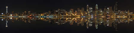 Seattle at night with lights Stock Photo - 16821126