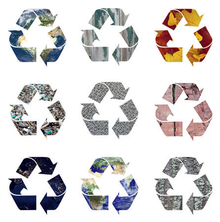 Recycle logo symbols isolated on white.  photo