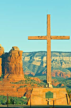 easter sunrise: Sunrise on the Shrine of the Red Rocks, dedicated on easter sunrise April 2, 1961