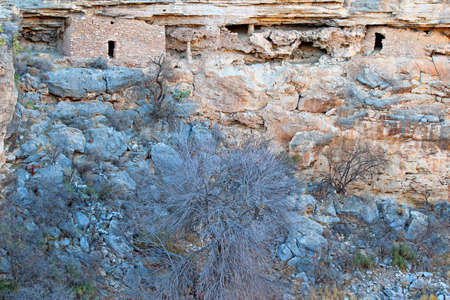 the dwelling: Montezuma Well native american indian cliff dwelling ruins