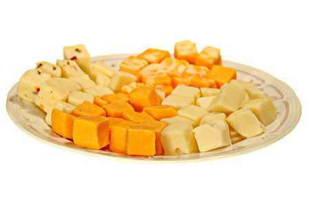 cubed: Plate with a selection of cubed cheeses Stock Photo