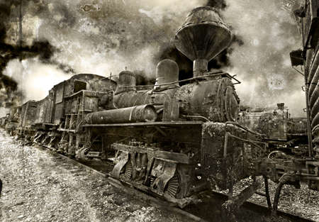 An old rusting vintage steam locomotive photo
