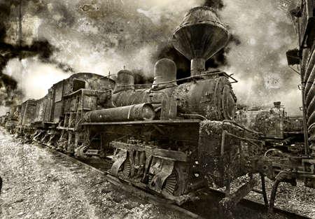 locomotora: Una vieja locomotora de vapor de época oxidación