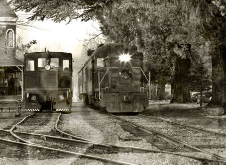 Vintage train leaving historic station photo