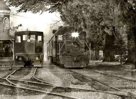 Vintage train leaving historic station Stock Photo