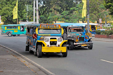 means of transportation: MANILA - FEBRUARY 20  Jeepney taxi on February 20, 2013 in Manila, Philippines  Jeepneys are a popular means of public transportation in the Philippines
