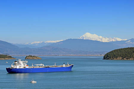 padilla: Oil tanker ship in Padilla Bay, Anacortes, Washington State with Mt Baker in the background