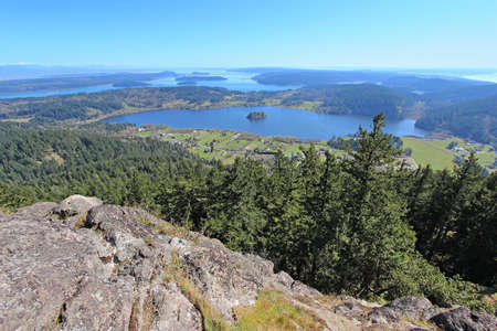 erie: View of puget sound and islands from the top of Mt Erie in Anacortes, WA Stock Photo