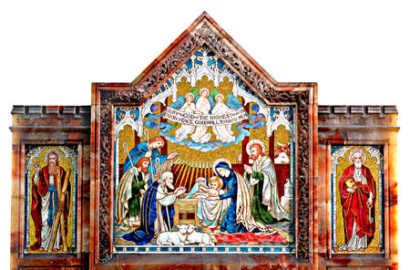 jesus paintings: Murial depicting the nativity flanked by St Andrew and St Peter  Stock Photo