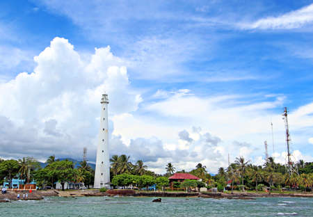 Cikoneng lighthouse was built in the 19th century to replace the earlier lighthouse which was completely destroyed by the tsunami caused by the 1883 eruption of Krakatau  Standard-Bild