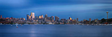 Sunset view of Seattle over Lake Union