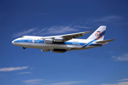 EVERETT -  JUNE 29  A Russian Antonov AN124 takes off from Paine Field on 29 June 2013  Boeing charters the Antonov AN124 from VOLGA-DNPER to transport large components for its aircraft manufacturing facility in Everett, WA