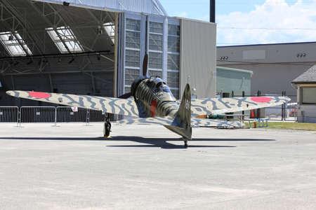 reisen: EVERETT -  JUNE 29  A restored World War Mitsubishi A6M3-22 Reisen Zero was seeing flying in the skies over Everett Paine Field on 29 June 2013 near Seattle, WA  Editorial