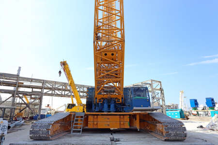large construction mobile crane on crawlers