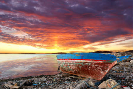 derelict: Seascape with old derelict fishing boat
