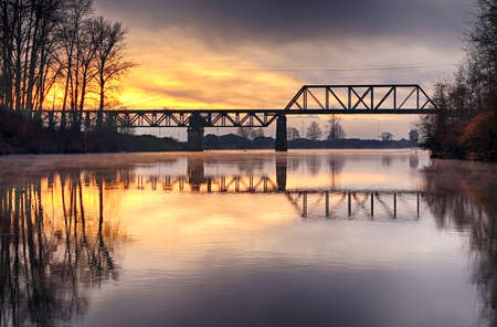 Dawn on the Snohomish river, Washington Sate, USA