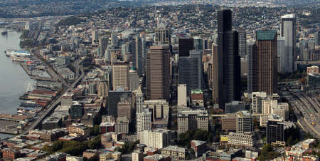 Aerial view of downtown Seattle photo