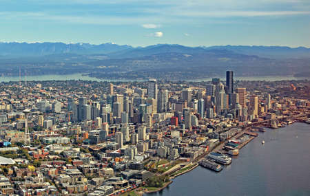 Aerial view of downtown Seattle Stock Photo
