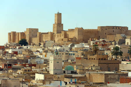 The Sousse Kasbah Tower built in 853 now houses the Khalaf al-Fata lighthouse  Stock Photo
