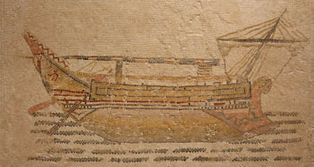 stocky: Ancient Roman mosaic from the beginning of the 3rd century depicting a stocky merchant ship was found at the threshold to the frigidarium of Themetra known as modern day Chott Merium in Tunisia