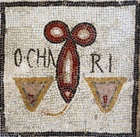 Ancient Roman mosaic from the end of the second century with a fish shaped phallus evoking delight, fecundity and abundance