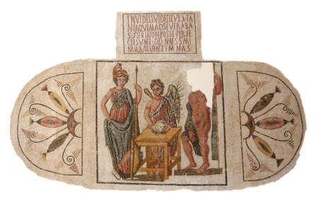 mosaic: Ancient Roman mosaic from the mid 4th century AD depicting a winged Victory bearing a palm branch announces the victory of Athena over Poseidon in their struggle for the possession of Attica  Editorial