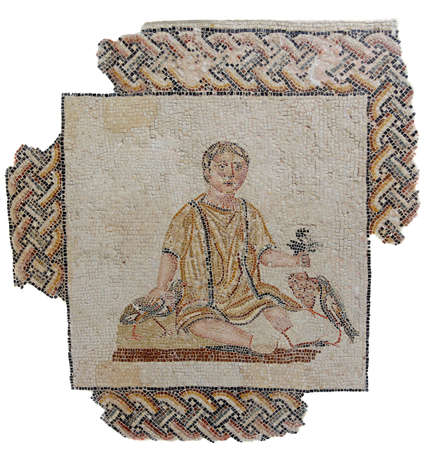 mosaic: Ancient mosaic from a Roman funeral monument dating back to the the beginning of the 3rd century AD depicting a young boy