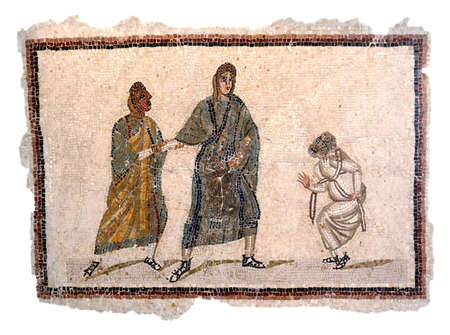 mosaic: Ancient Roman mosaic from the end of the 2nd century to mid 3rd century AD depicting a theatrical comedy scene with three characters  Editorial