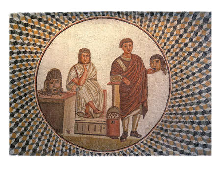 mosaic: Mid third century AD Roman mosaic depicting a theatrical scene