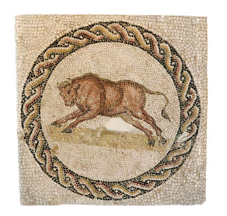 mosaic: Early 3rd century AD mosaic from a Roman funeral monument  The bull evokes the animal form of the god Dionysus  Editorial