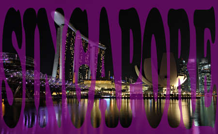 Singapore at night with script