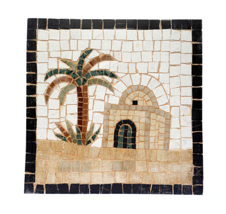 Ancient mid 3rd century Roman mosaic depicting a Bedouin hut and palm tree