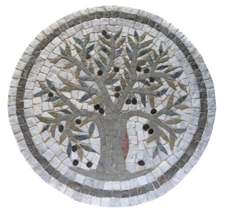 depicting: Ancient mid 3rd century Roman mosaic depicting an olive tree